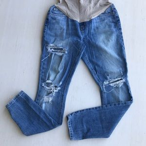 8d3076b8d4557 Maternity Distressed Full Belly Control Jeans